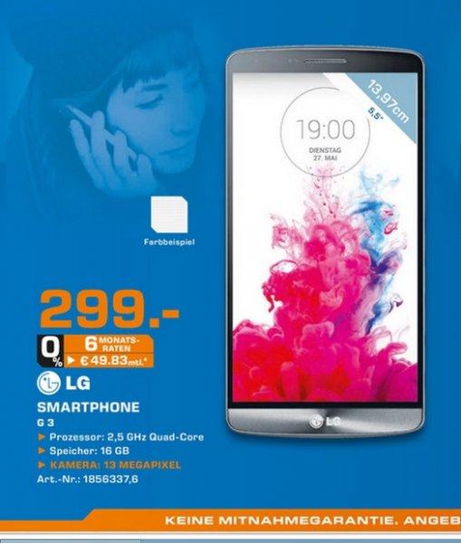 LG G3 16GB + (Gratis Premium Headset) für 299€ LOKAL @ Saturn Herford