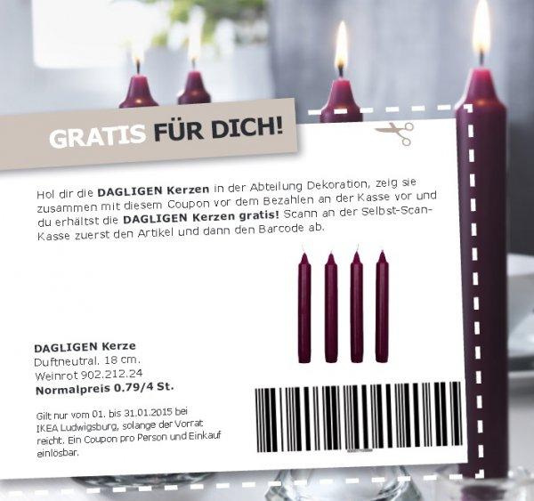 [ IKEA Ludwigsburg ]  4 Stück DAGLIGEN Kerzen , Duftneutral. 18 cm  Gratis