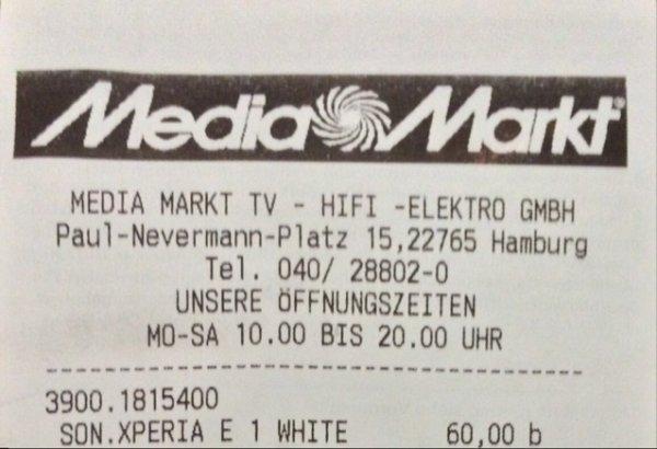 (Lokal: Mediamarkt HH Altona) Sony Xperia E1 (weiß)