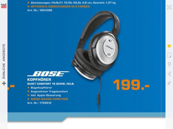 Bose Quietcomfort 15 Kopfhörer @ Saturn HH