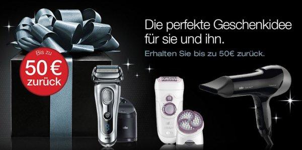 Bis zu 50 Euro Cashback auf Braun Produkte, z. B. über Amazon.de
