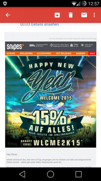 15% bei Snipes Online auf alles