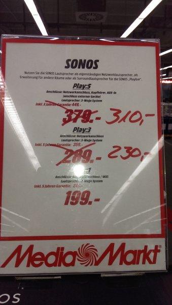 Lokal MediaMarkt Potsdam - Sonos Play 5 für 310 €, Play 3 für 230 €