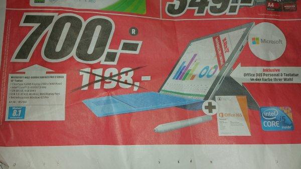 Surface 3Pro + Tastatur + Office 365 700Euro (Mm Zwickau)
