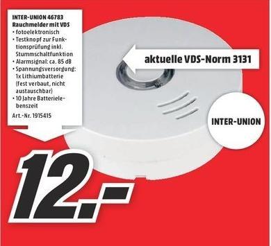 Rauchmelder, 10 Jahres Batterie, VDS-Norm für 12e @ Media Markt Schwäbisch Hall / Crailsheim
