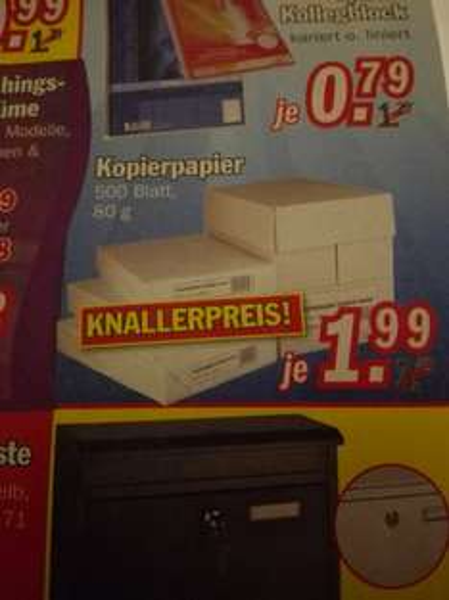 (lokal+ offline) Kopierpapier 500 Blatt,80 g für 1,99€ bei Zimmermann restposten