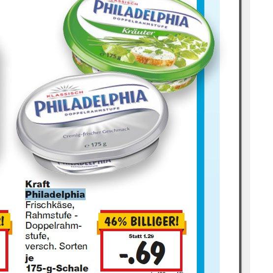 Philadelphia Frischkäse von Kraft ab Donnerstag für nur 0,69€ KW 02 [Kaufland]