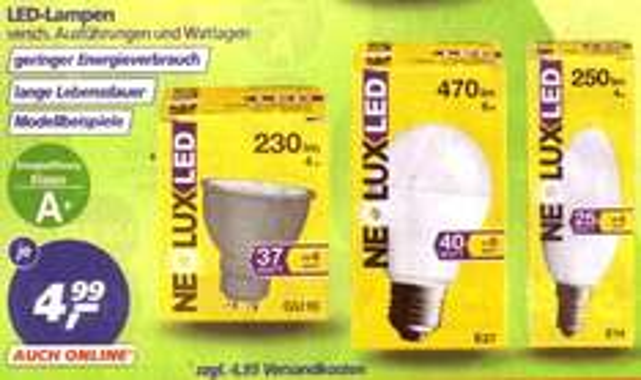 Real: Neolux- LED -Lampen jetzt zum Einheitspreis von 4,99 €