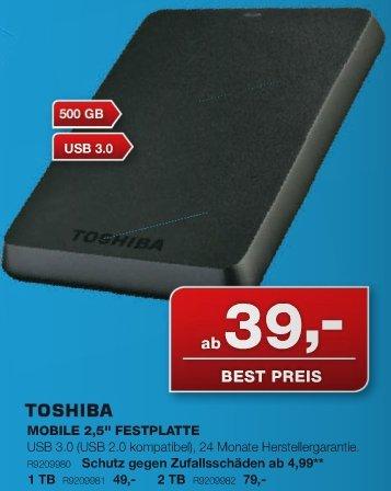 "TOSHIBA STOR.E BASICS – 2,5"" – 500 GB – schwarz – USB 3.0 – schwarz @Staples (offline)"