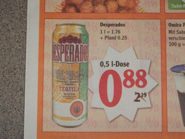 Desperados Bier 0,5l- Dose 0,88€