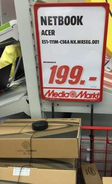 Netbook Acer ES1-111-C56A NX.MRSEG.001 im Mediamarkt Lichtenfels (lokal?) für 199 Euro
