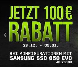 Schenker - 100€ Rabatt bei Einbau einer Evo 850 SSD ab 250GB nur noch heute