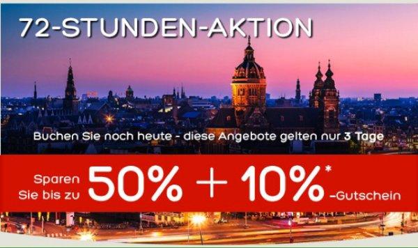 Hotels.com 72 Stunden Aktion 50% + 10% Gutschein