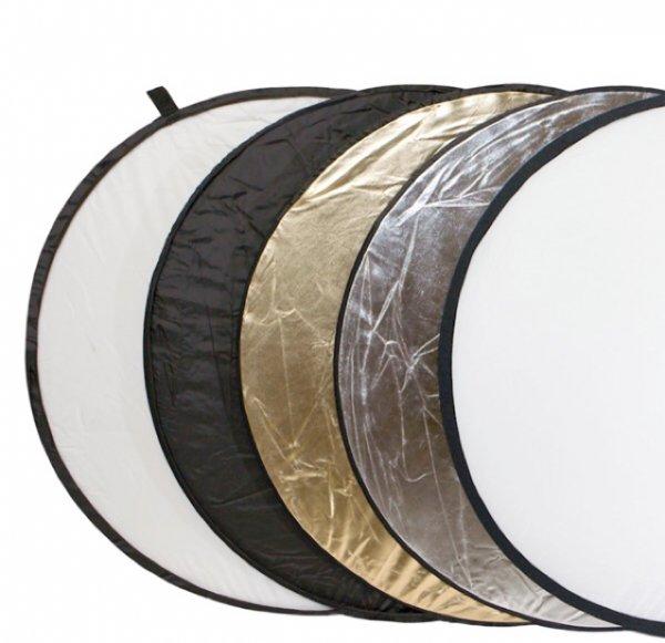 Delamax 5in1 Faltreflektoren Set - 107cm Ø - gold, silber, schwarz, weiß und Diffusor