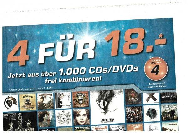 """Saturn offline: """"4 für 18 Euro"""" aus über 1.000 CDs / DVDs 4 beliebige für zusammen 18 Euro"""