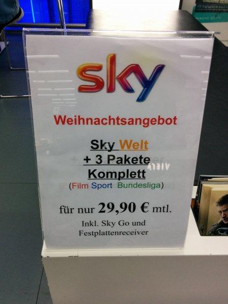 Sky komplett für 29,90 inkl. Sky Go und Festplattenreciver @Saturn Hamburg Mönckebergstraße