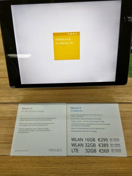 [Hamburg] NEXUS 9 16GB für 299€ im Google Store bei Saturn (andere Varianten auch)