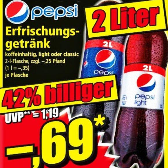 Pepsi und Pepsi light die große 2l-Flasche für preiswerte 0,69€ bei [ NORMA ]