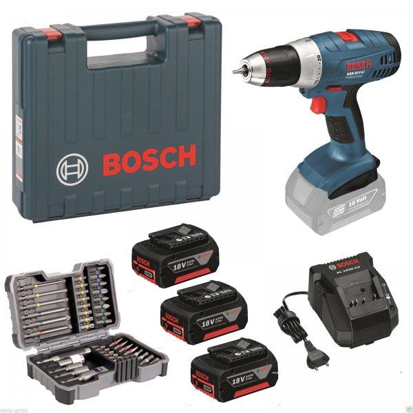 Bosch GSR 18V-LI Akku-Bohr-Schrauber 18 Volt + 3x Akku 3,0 Ah + Bit Set + Koffer Ebay WOW