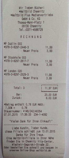 [Chemnitz - Sachsenallee] Weltbild Räumungsverkauf, u.a. Marco Polo Reiseführer für je 3,99€