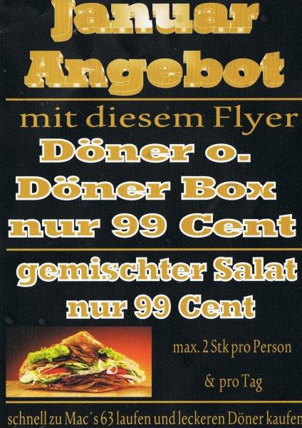 Döner für 99 Cent im gesamten Monat Januar für Berlin