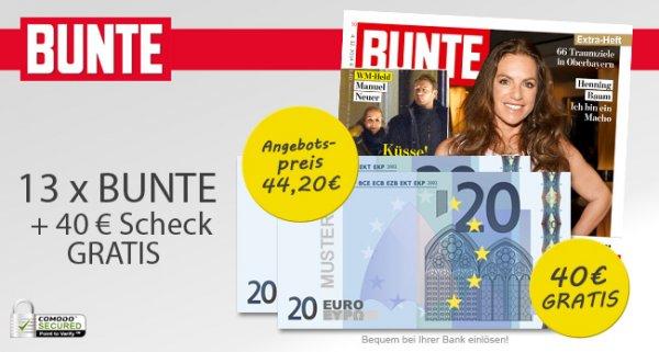 13 Ausgaben BUNTE effektiv für 4.20€ durch Barscheck