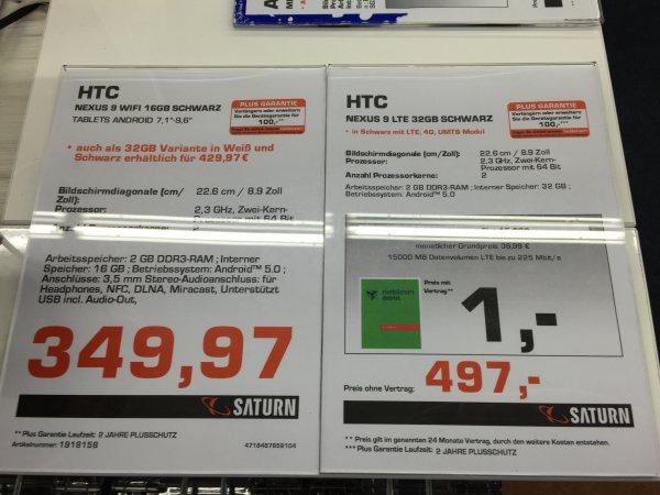 [Lokal] HTC Nexus 9 Weiß, Schwarz, WiFi & LTE Modelle im Saturn Berlin Köpenick