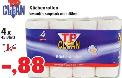 [THOMAS PHILIPPS] KW03: Küchenrollen 4x45 Blatt für nur 0,88€ = 0,0049€/Blatt | Jahrestiefstpreis 365+