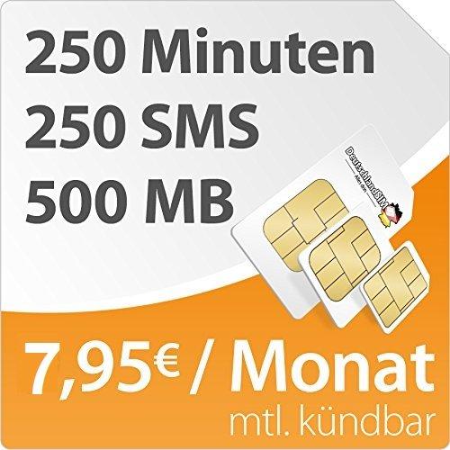 DeutschlandSIM SMART 500 (250 Freiminuten, 250 SMS, 500MB) für 7,95 / Monat (normaler Preis 9,95) ohne Vertragslaufzeit