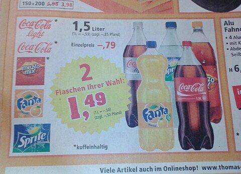 [Thomas Philipps : Dessau-Roßlau] 2 Flaschen : Coca Cola Sortiment 1,5L - 0,50€/L (bundesweit?)