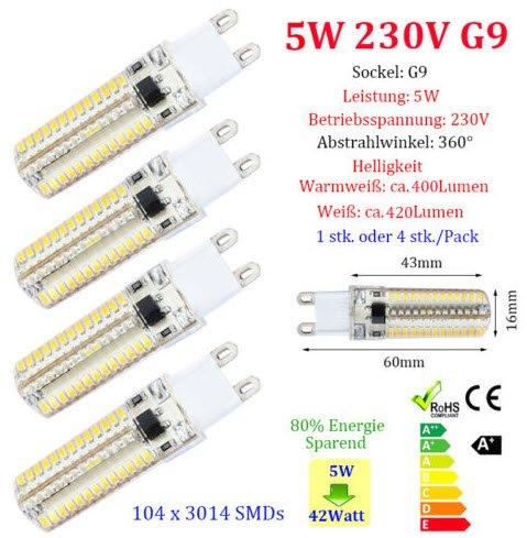 5W G9 LED Glühbirne Lampe 3014 2835 SMD Leuchtmittel 230V Warmweiß Weiß