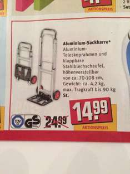 Offline Sackkarre Alu bis 90 Kg bei REWE € 14,99
