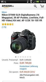 Nikon D7000 SLR-Digitalkamera (16 Megapixel, 39 AF-Punkte, LiveView, Full-HD-Video) Kit inkl. AF-S DX 18-105 VR 350Euro reduziert!!
