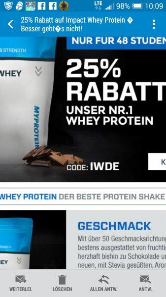 MyProtein 25% auf Whey Proteine alle geschmäcker mit dem Code IWDE !!!!