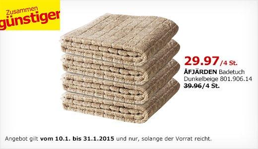 [Ikea] Vier ÅFJÄRDEN Badtücher zum Preis von dreien 29,96 statt 39,96