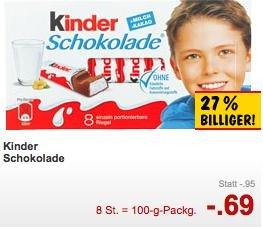 Kinderschokolade bei Kaufland für 0,69€ [lokal] [nicht im Süden]