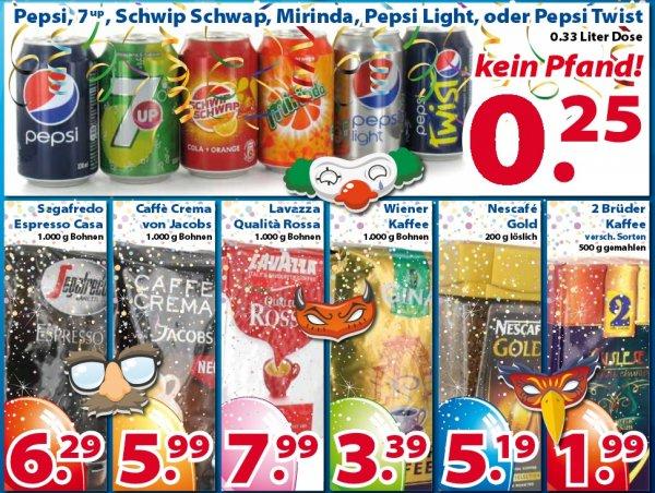 (Die 2 Brüder von Venlo) Pepsi, 7 up , Schwip Schwap, Mirinda, Pepsi Light, oder Pepsi Twist je 0,33l Dose 0,25€
