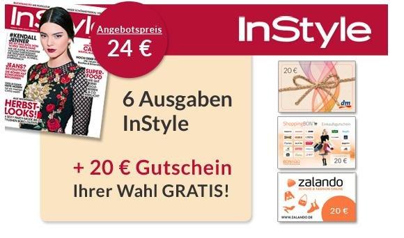Halbes Jahr/6 Ausgaben InStyle effektiv nur 4,00€ dank Universalgutschein