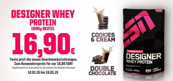 fitmart.de ESN Designer Whey alle Sorten 1kg 16,90 Euro + Versand
