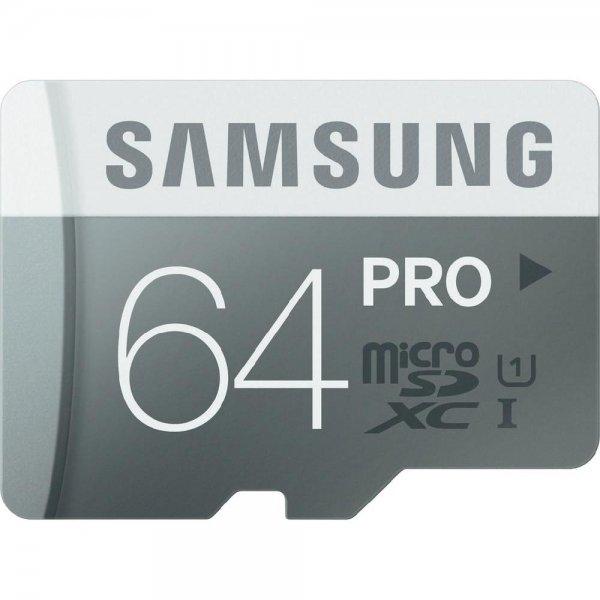 64 GB Samsung Pro microSDXC Karte Class 10, UHS-I L:90 MB/s S:50 MB/s