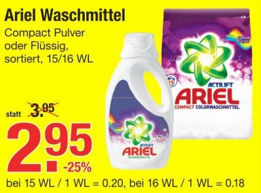 [V-MARKT] Ariel Compact Flüssig/Fest 15WL/16WL für 1,95€ = 0,12€/WL 15.01.-21.01.2015 (Angebot+Coupon)