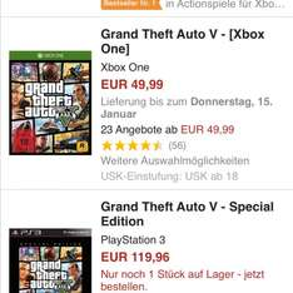 GTA 5 Xbox one 55 Euro inclusive strafversand