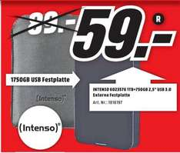 Intenso 1,75 TB bzw. 1750 GB + Tasche für 59 Euro [Externe 2,5 Zoll Festplate] [Lokal in Media Markt Porta Westfalica]