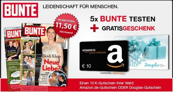 5 Ausgaben BUNTE für 11,50€mit 10€ Amazon-Gutschein