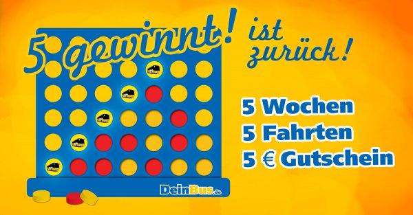 5€ DeinBus Gustchein für 5 Buchungsnummern