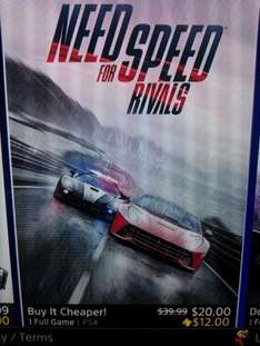 PS4 US PSN Need for Speed Rivals für 18,75€