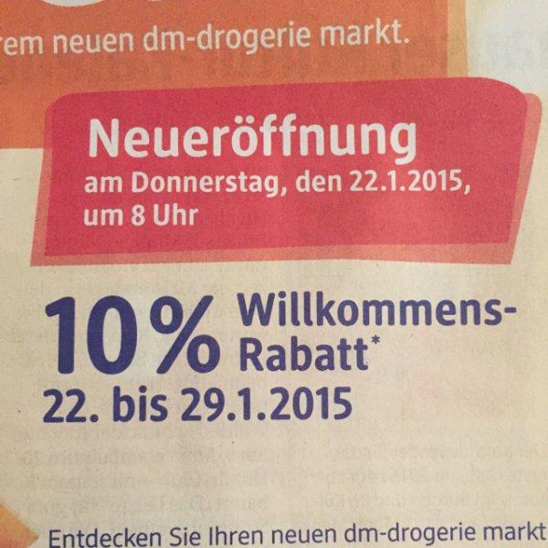 10% Rabatt DM Neueröffnung [Velbert] Lokal