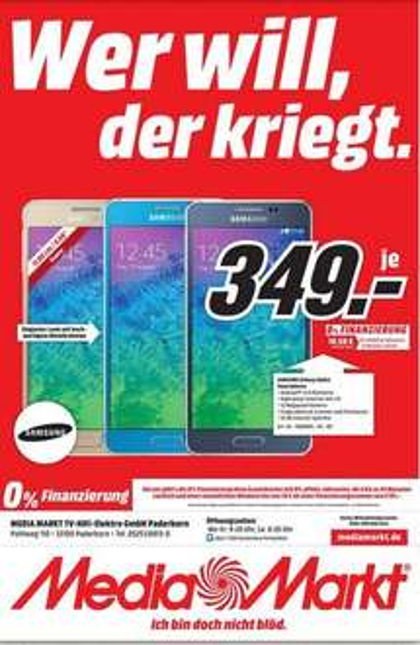 Samsung Galaxy Alpha (verschiedene Farben) [Lokal: Media Markt Paderborn]