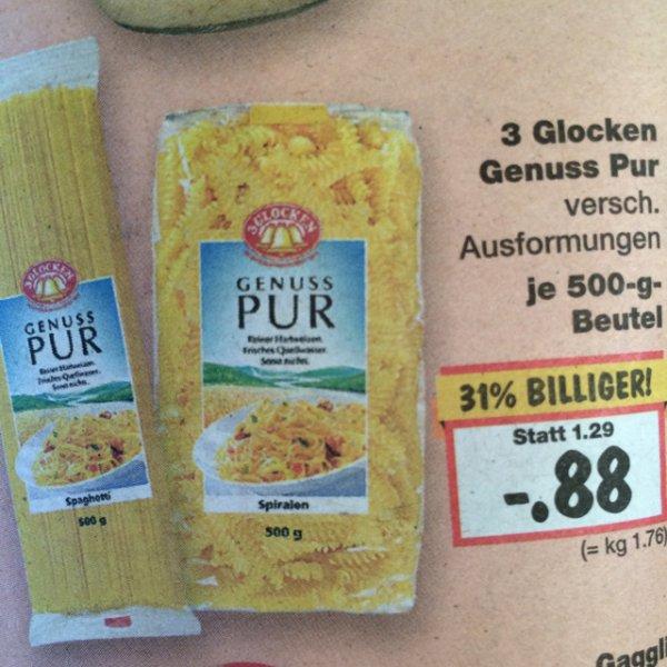 [bundesweit?] Kaufland 3 Glocken Genuss Pur Nudeln 500g 0,88€