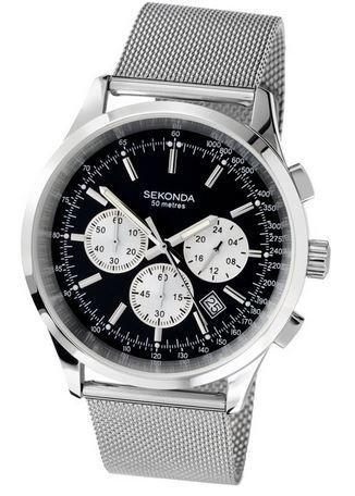 [Amazon.co.uk] Sekonda Herren-Armbanduhr Chronograph Edelstahl silber 3415.27 für 36,80€ aus UK statt 95€ in D